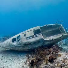 Scrap metal in the ocean